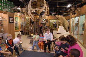 Adults and Children Enjoying Museum Exhibits